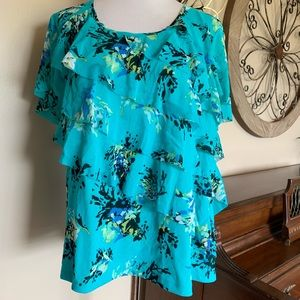 Apt. 9 Size 3X Ruffled Tiered Aqua Blouse Top
